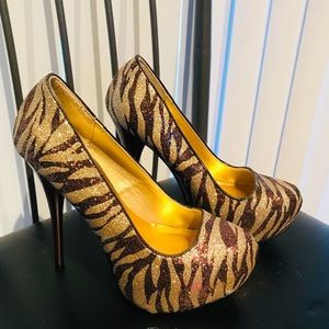 Gorgeous Gold and Brown Glitter Pumps